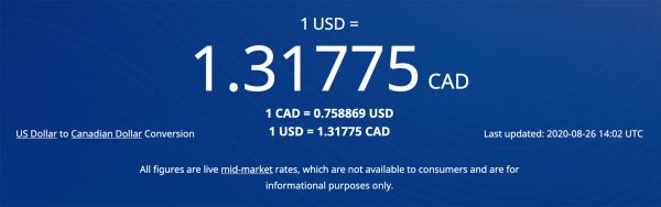 Click Here to See Today's USD to CAD Rate